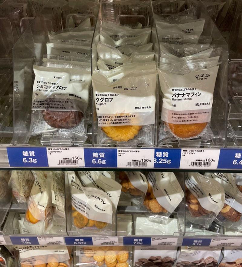 陳列されている無印の低糖質ドーナッツ